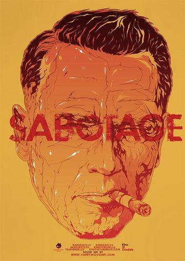 """""""Garsų pasaulio įrašai"""" nuotr./Alternatyvus filmo """"Sabotažas"""" plakatas, kurį sukūrė latvis Harijs Grundmanis"""