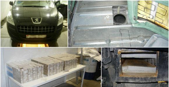 Kontrabandininkai rūkalų slėptuvėmis pavertė atsarginį ratą, sėdynes ir net degalų baką