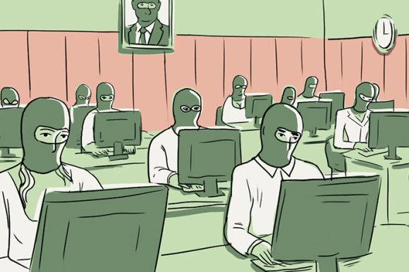 """""""Sobaka"""" iliustracija/Kremliaus """"trolių fabriko"""" propagandistai"""