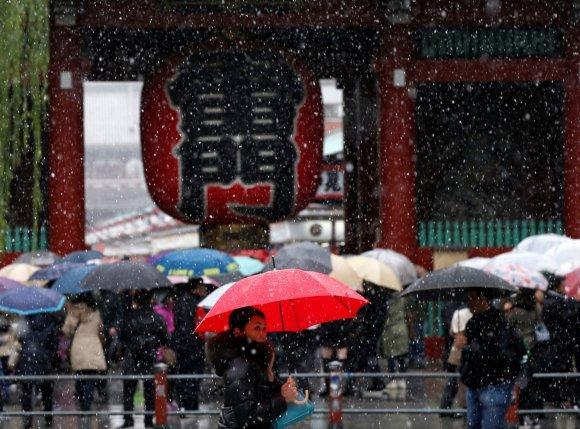 """""""Reuters""""/""""Scanpix"""" nuotr./Tokijuje pirmąkart per 54 metus lapkritį iškritęs sniegas sutrikdė eismą"""