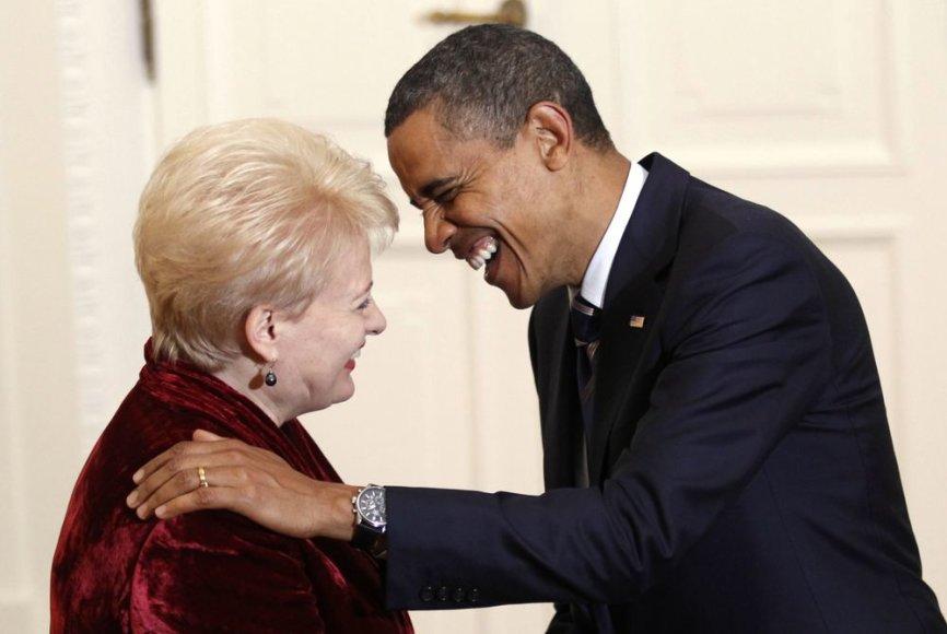Dalia Grybauskaitė su Baracku Obama 2011 metais Varšuvoje