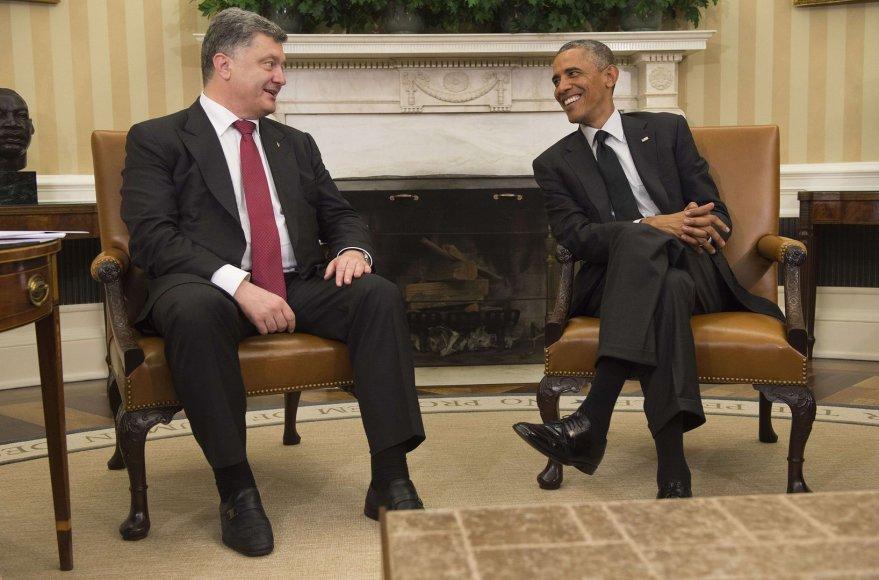 Ukrainos prezidentas Petro Porošenka ir JAV prezidentas Barackas Obama