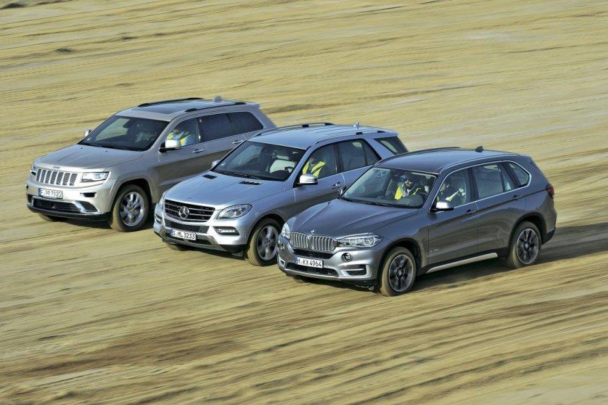 """Jeep Grand Cherokee"", ""Mercedes-Benz ML"" ir BMW X5"