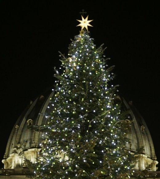 Vatikane sužibo Kalėdų eglė.