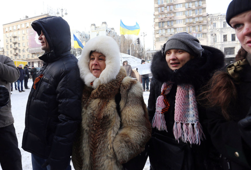 Saujelė V.Janukovyčiaus šalininkų bara Maidano kovotojus 2014 m. vasario 02 d.