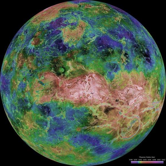 Veneros vaizdai, hemisferinis žemėlapis