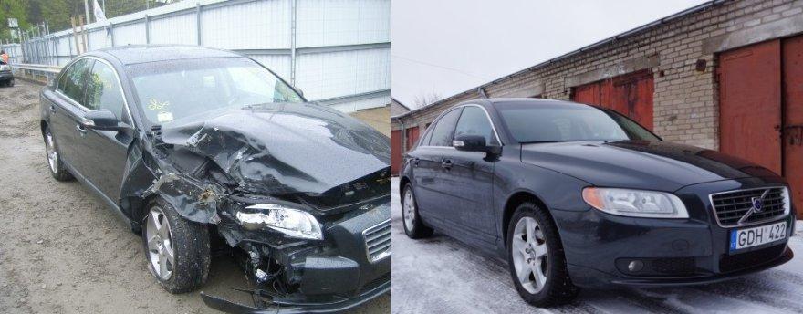 """Dažtas """"Volvo S80"""" (kairėje) ir sutvarkytas"""