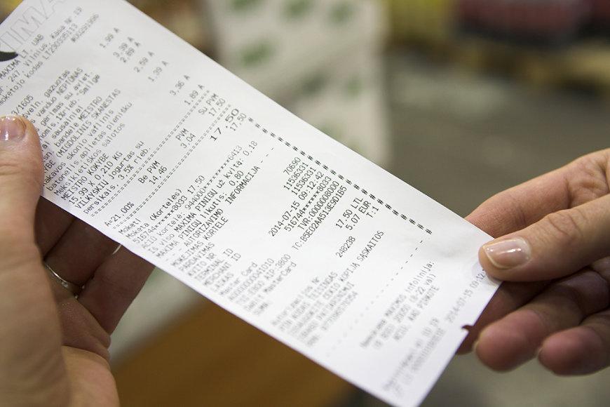 Čekis, kuriame prekių kainos nurodytos litais ir eurais