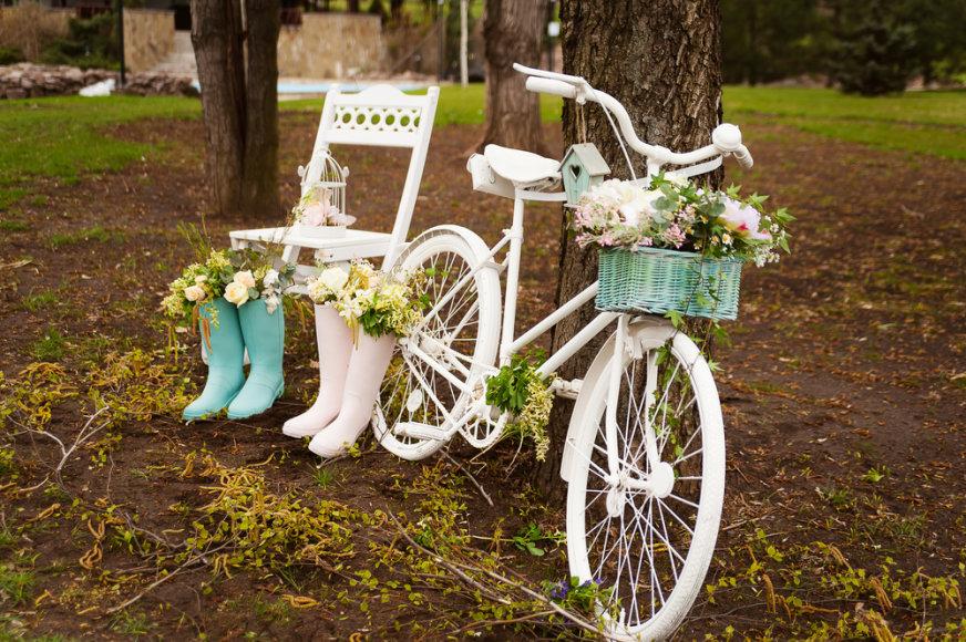 Dekoruotas dviratis.