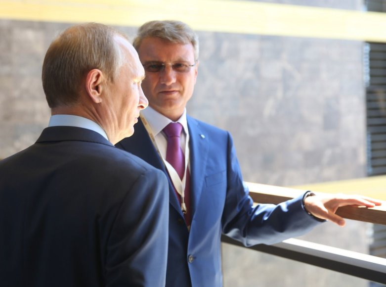 """Rusijos prezidentas Vladimiras Putinas ir """"Sberbank"""" prezidentas Germanas Grefas"""