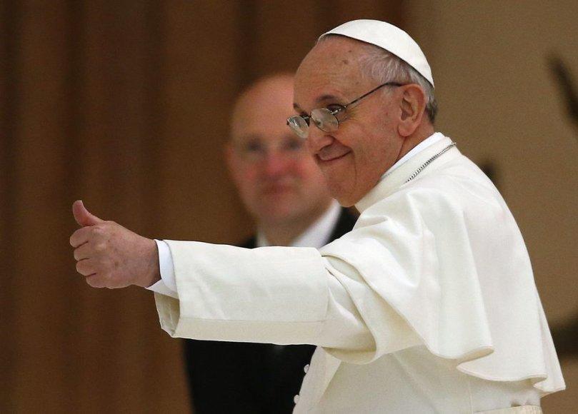 Popiežius Pranciškus šeštadienį susitiko su pasaulio žiniasklaidos atstovais.