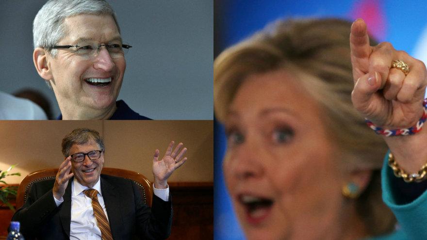 Billas Gatesas, Timas Cookas, Hillary Clinton