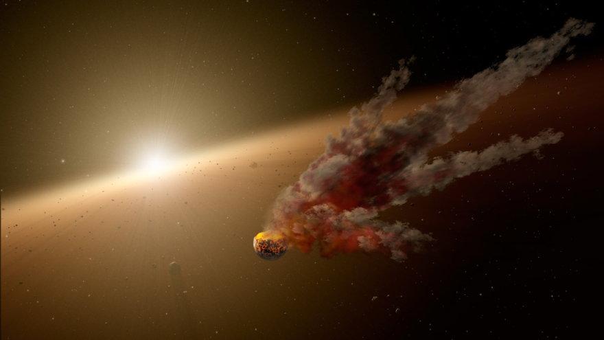Planetų susidūrimas NGC-2547 ID8 sistemoje dailininko akimis