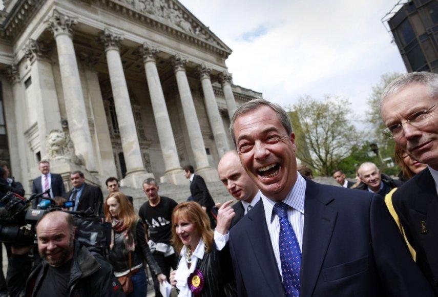 Euroskeptiko Nigelo Farage'o vadovaujama UKIP tikisi iškovoti daugiau vietų Europos Parlamente
