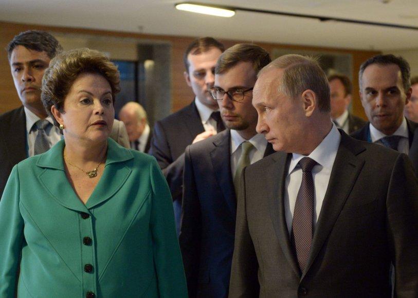 Brazilijos prezidentė Dilma Rousseff ir Rusijos prezidentas Vladimiras Putinas