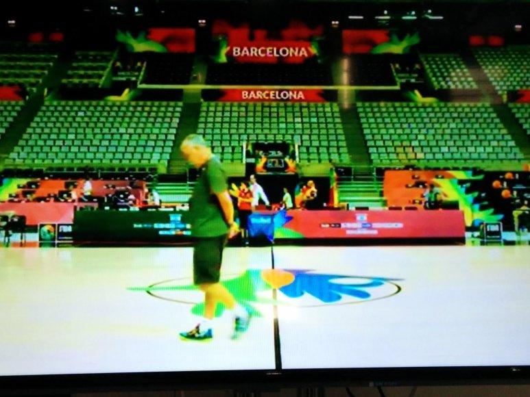 Lietuvos krepšinio rinktinės treniruotė – per Barselonos arenos televizorių ekranus