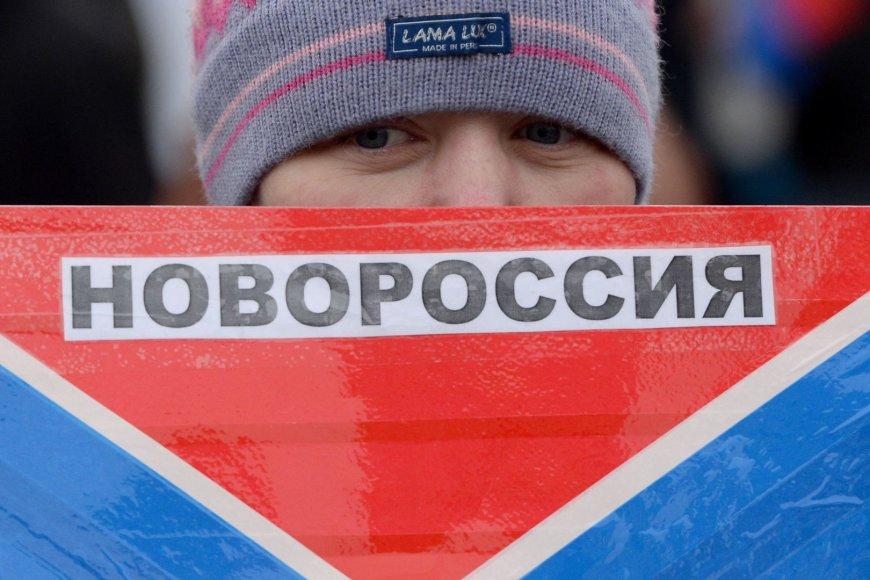 """Vaikas su """"Novorosijos"""" vėliava"""