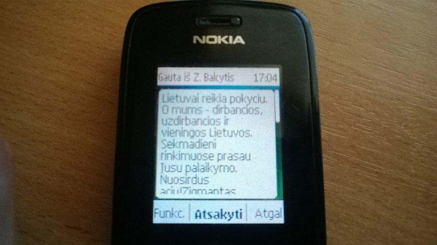 Reklaminė SMS žinutė, kviečianti balsuoti už Z.Balčytį