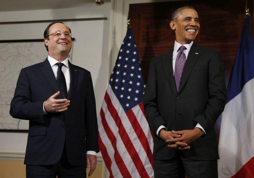Prancūzijos prezidentas Francois Hollande'as ir JAV prezidentas Barackas Obama
