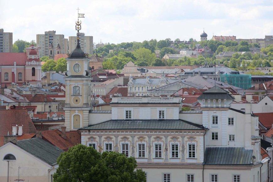 Vilniaus katedros varpinė ir vaizdai per jos langus