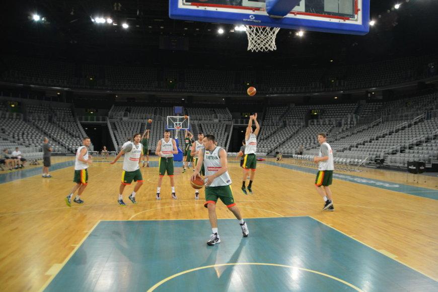 Lietuvos krepšinio rinktinės treniruotė Zagrebe