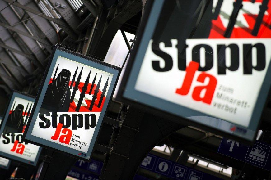 Referendumo dėl minaretų uždraudimo agitaciniai plakatai Šveicarijoje
