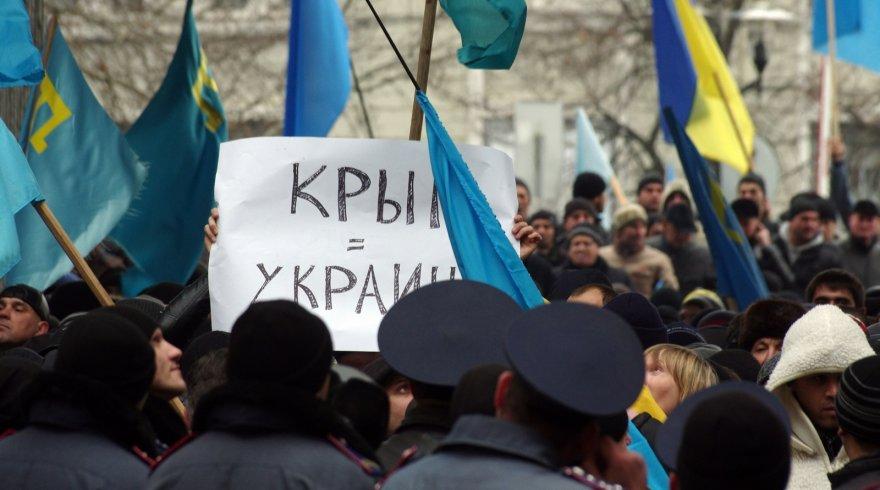 Protestuotojai Kryme