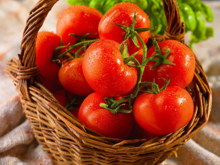 Krepšelis raudonskruosčių pomidorų