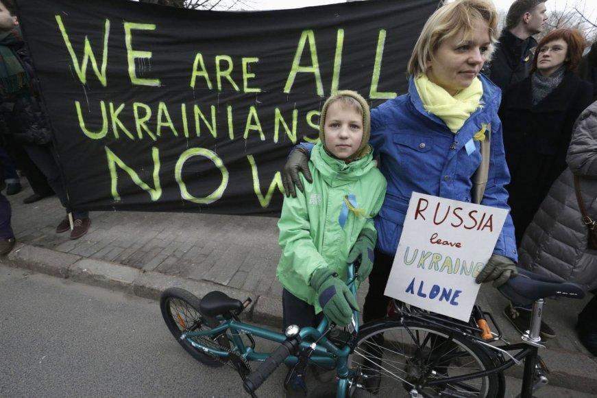 Ukrainą palaikantys protestuotojai