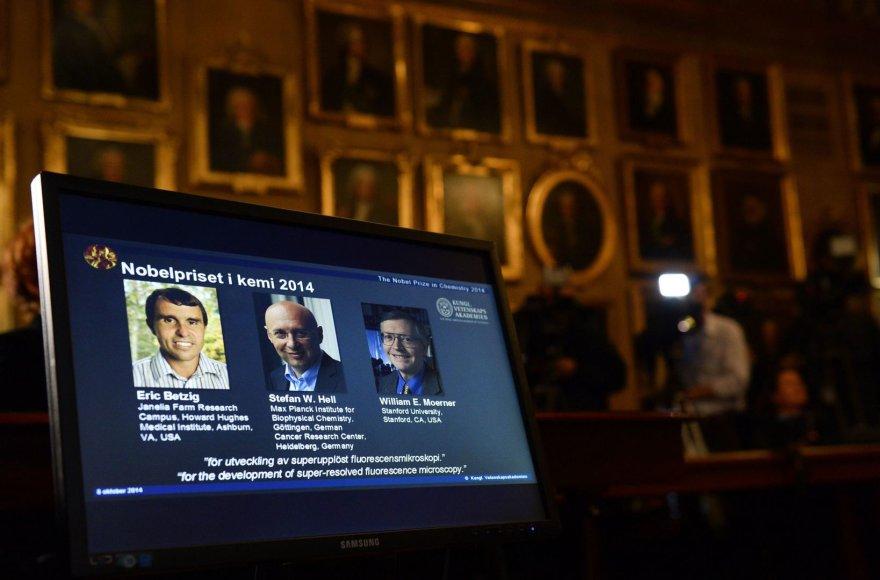 2014 m. Nobelio premijos laureatai Ericas Betzigas, Stefanas W.Hellas ir Williamas E. Moerneras