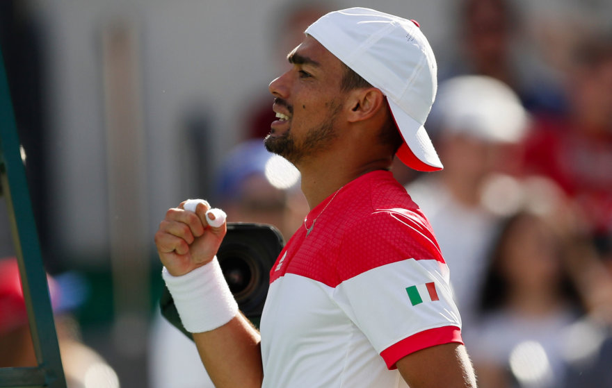 Andy Murray po atkaklios kovos nugalėjo Fabio Fogninį