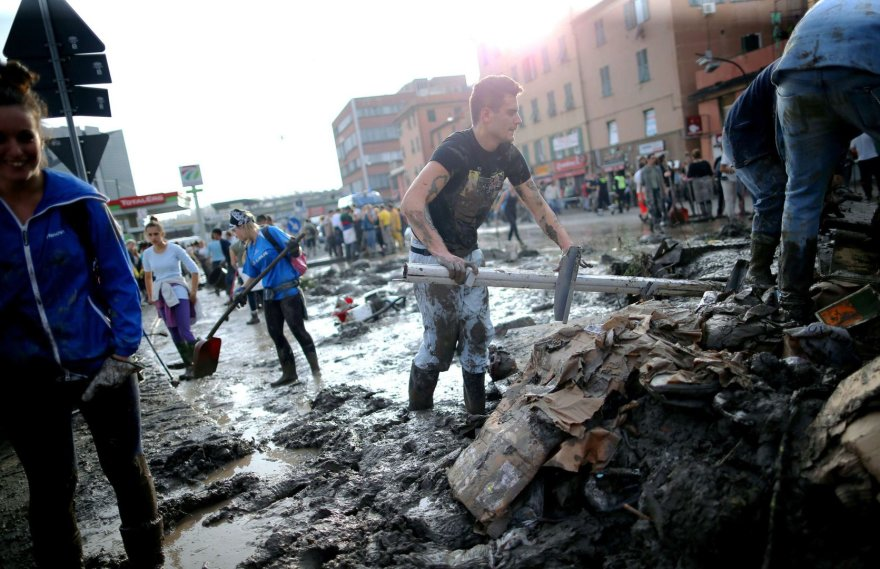 Potvynio padariniai Italijos Genujos mieste