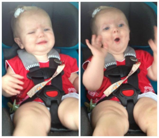 Verkiančios mergaitės reakcija į Katy Perry muziką