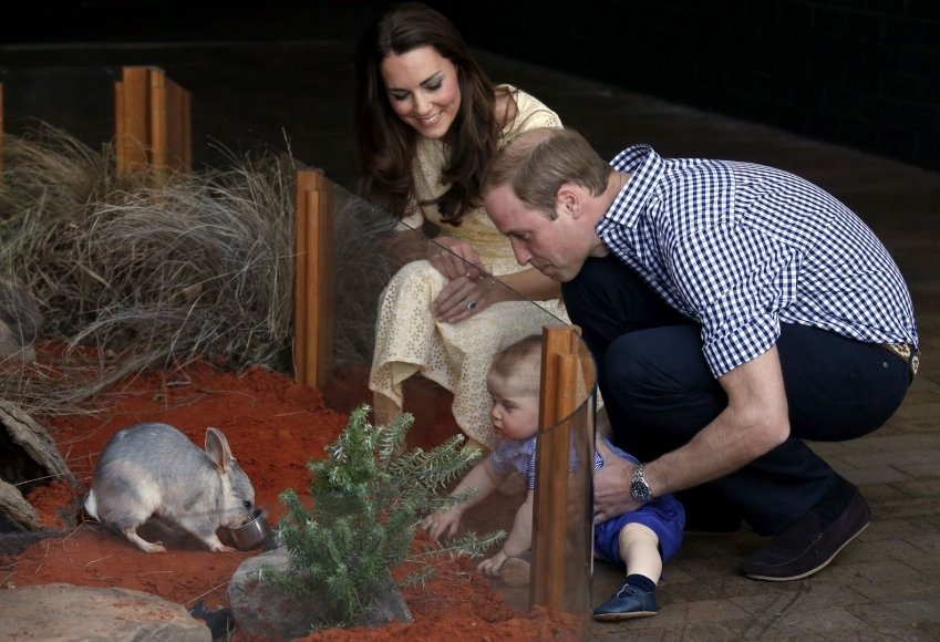 Princas Williamas ir Kembridžo hercogienė Catherine su princu George'u