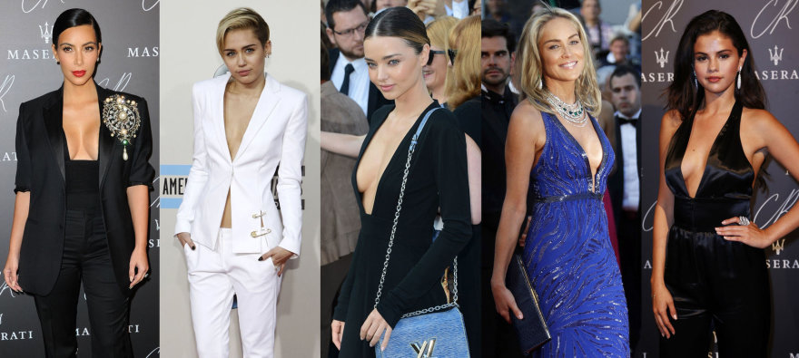 Kim Kardashian, Miley Cyrus, Miranda Kerr, Sharon Stone, Selena Gomez