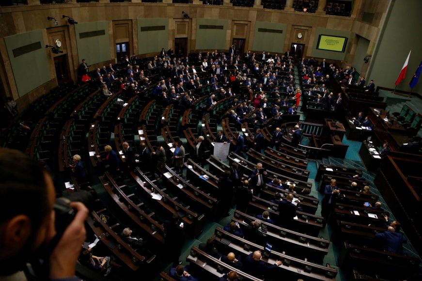 Protestas Lenkijos parlamente