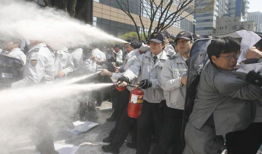 Policininkai gesina demonstrantų padegtas Š.Korėjos simbolius.