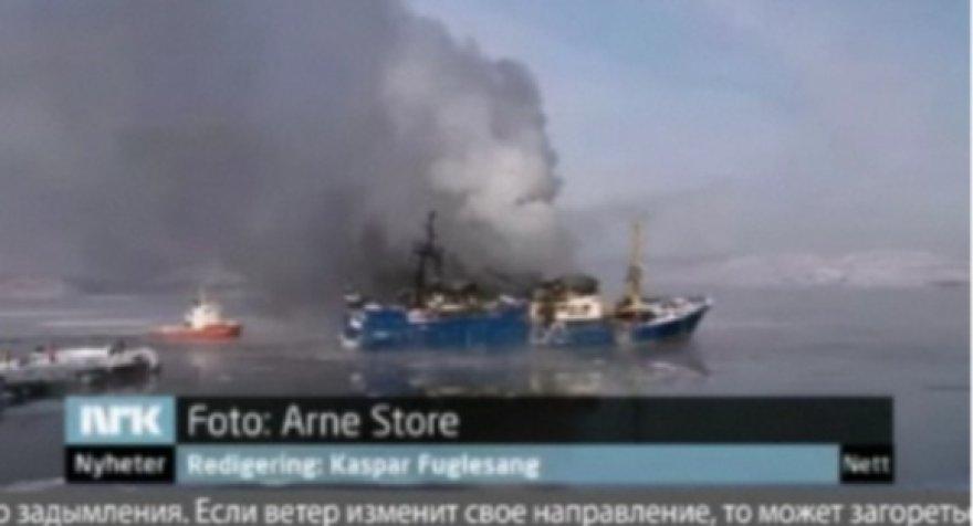 Degantis Rusijos laivas prie Norvegijos krantų