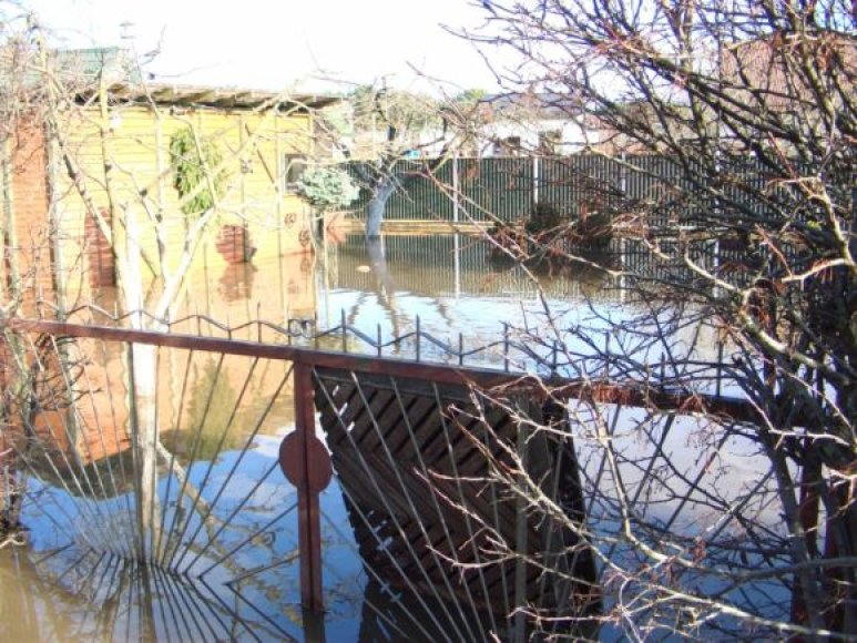 Radikių kaime likviduojami potvynio padariniai