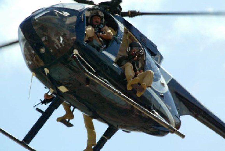 Privačios JAV saugumo tarnybos sraigtasparnis Bagdade