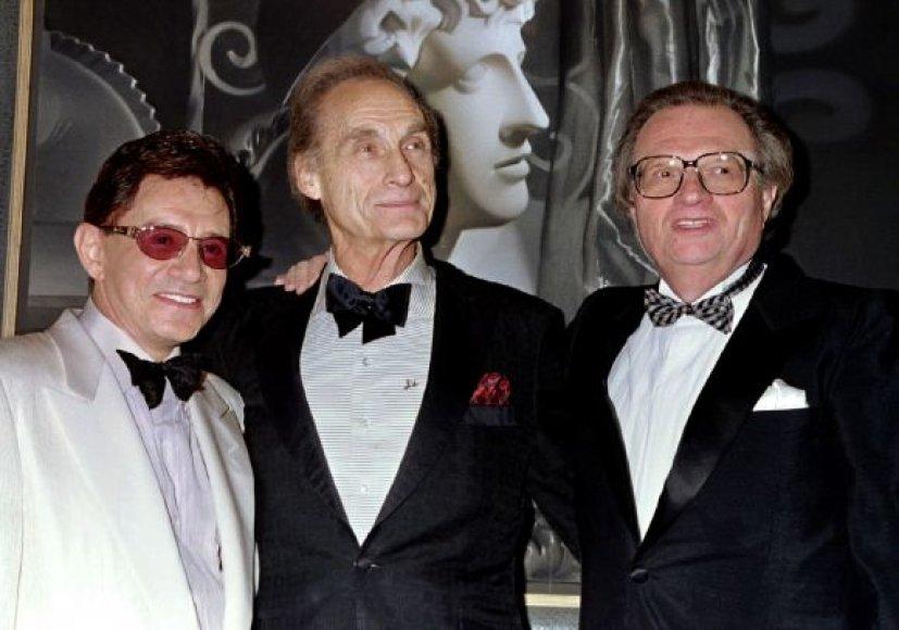 Holivudo legendos Eddie Fisheris (kairėje) su  Sidu Caesaru (centre) ir  CNN  žvaigžde Larry Kingu