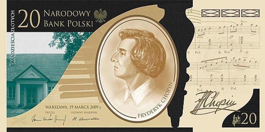 20 zlotų banknotas Fryderyko Chopino dviejų šimtų metų gimimo sukakties paminėjimui (aversas)