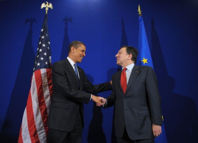 JAV prezidentas Barackas Obama ir EK prezidentas Jose Manuelis Barroso