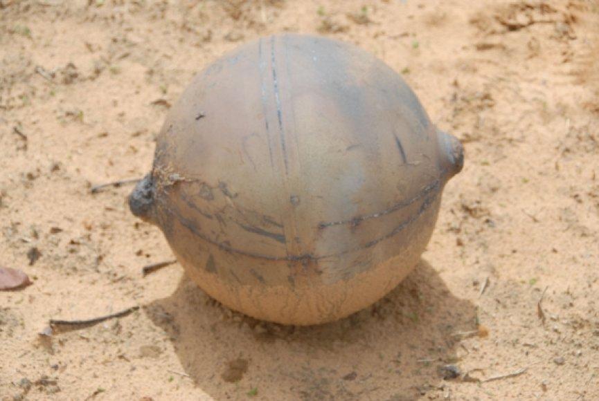 Keistas iš dangaus nukritęs metalinis rutulys užminė mįslę Namibijos gyventojams.