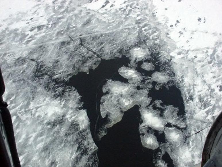 Aižėjantis Kuršių marių ledas