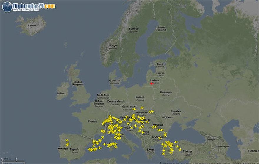 Taip penktadienį atrodė Europos oro erdvė