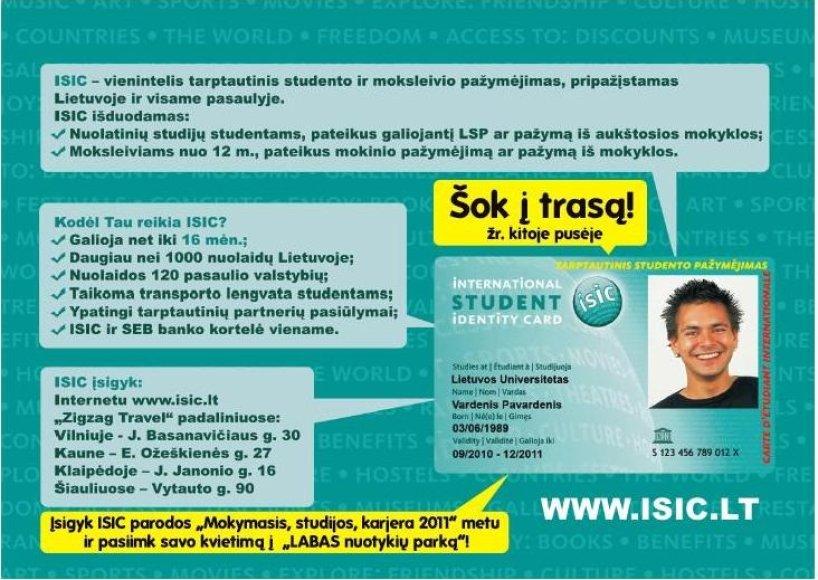 """""""ISIC Lietuva"""" keliauja  į studijų parodą """"Litexpo""""."""
