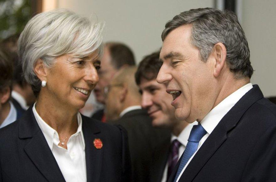 Christine Lagarde ir Gordonas Brownas