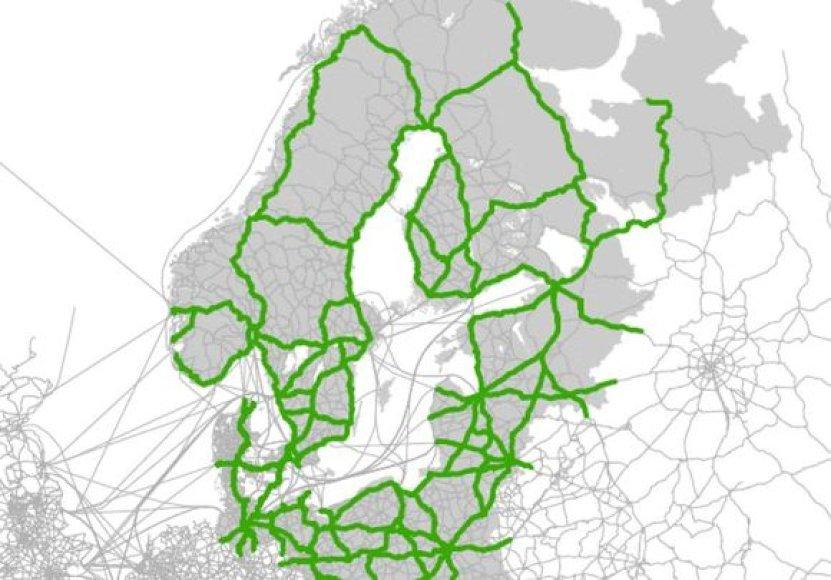 Baltijos jūros regiono transporto tinklas, pagal išankstinę Baltic Transport Outlook 2030 (http://www.baltictransportoutlook.eu/) studiją. Žaliai pažymėti automobilių greitkeliai ir svarbesnės magistralės.