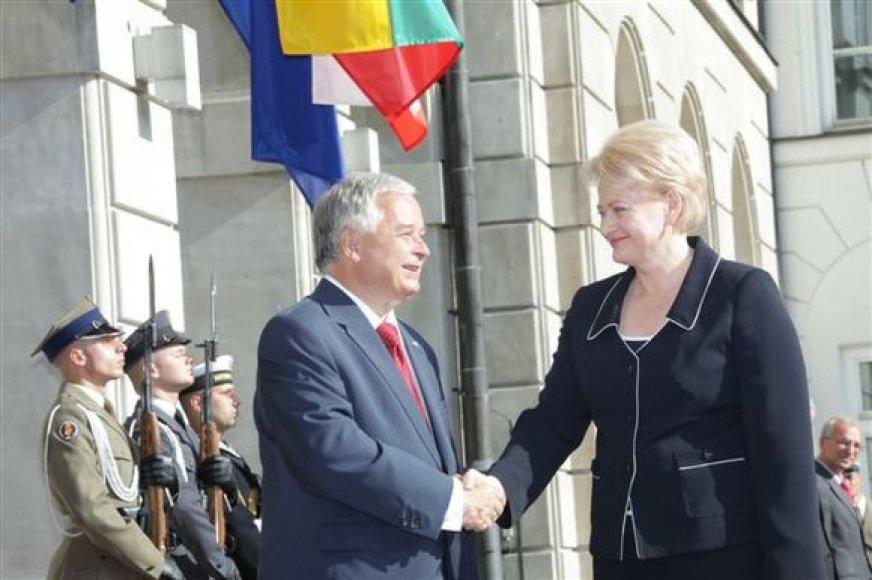 Lenkijos prezidentas Lechas Kaczynskis ir Lietuvos prezidentė Dalia Grybauskaitė